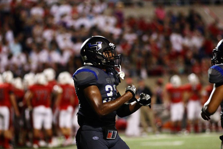 Senior safety Jamal Adams celebrates after breaking up a pass to put Coppell in a 4th down situation.