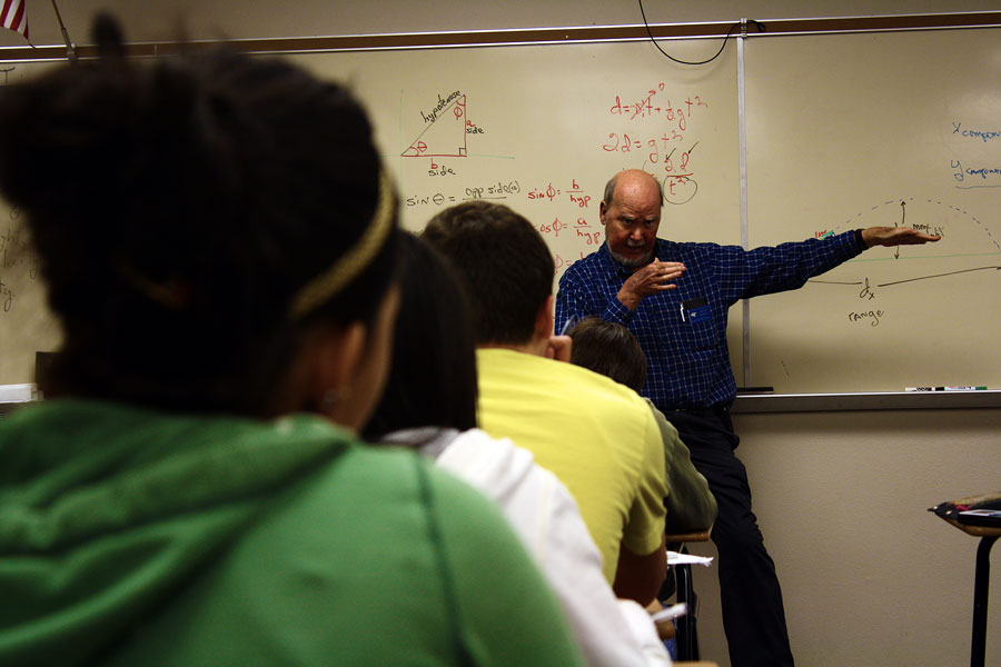 Physics teacher Jim Stockton teaches his students how to use dimensional analysis.