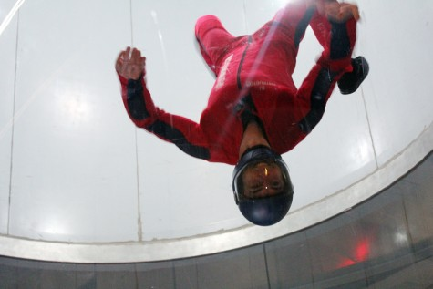 iFLY instructor demonstrates an upside-down flying position