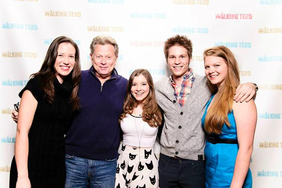 Leigh (center) poses with actor, writer and producer Derek Stusynski (right) and with series writer Megan Furnish (far right) at the