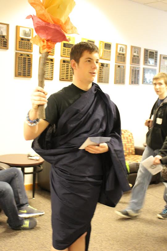 Junior Heath Koch dressed as Charon, a figure in Greek mythology, for the costume contest.