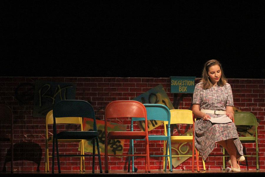 Sophomore Caroline Wagner contemplates her situation. Wagner played the lead role of Mrs. Barrett.