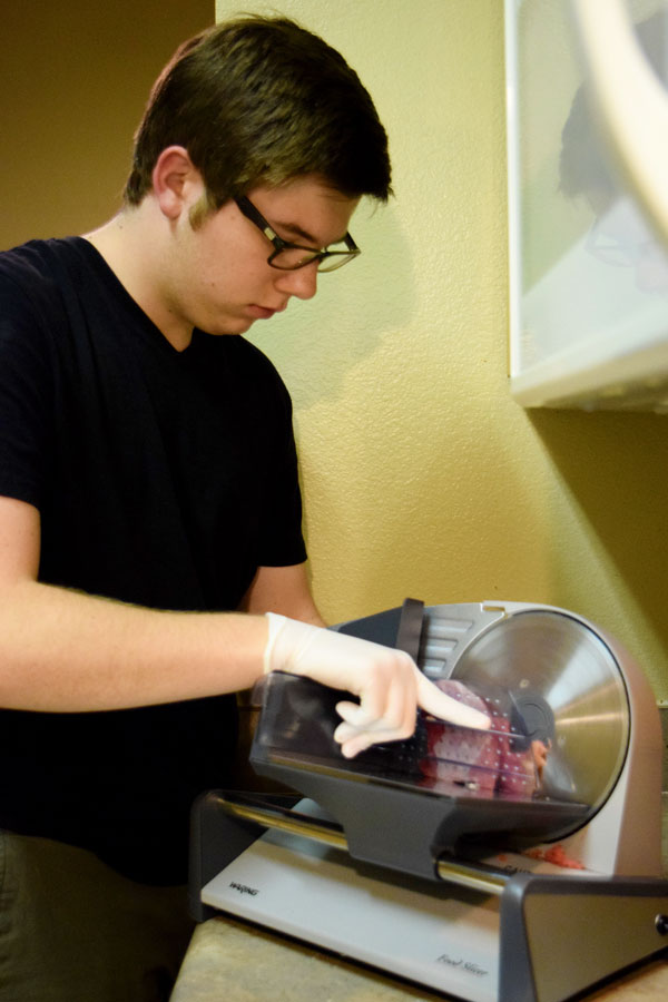Welborn uses a professional meat slicer, which he was able to buy in April.