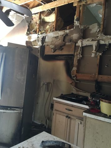 The fire tore apart the Rabalais's kitchen completely.