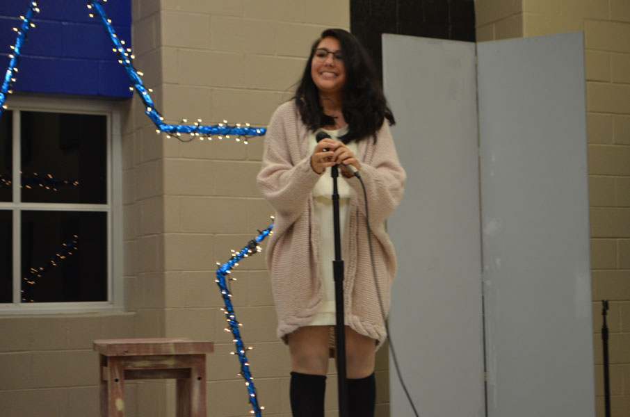 Freshman Sofia Garcia sings Feeling Good.