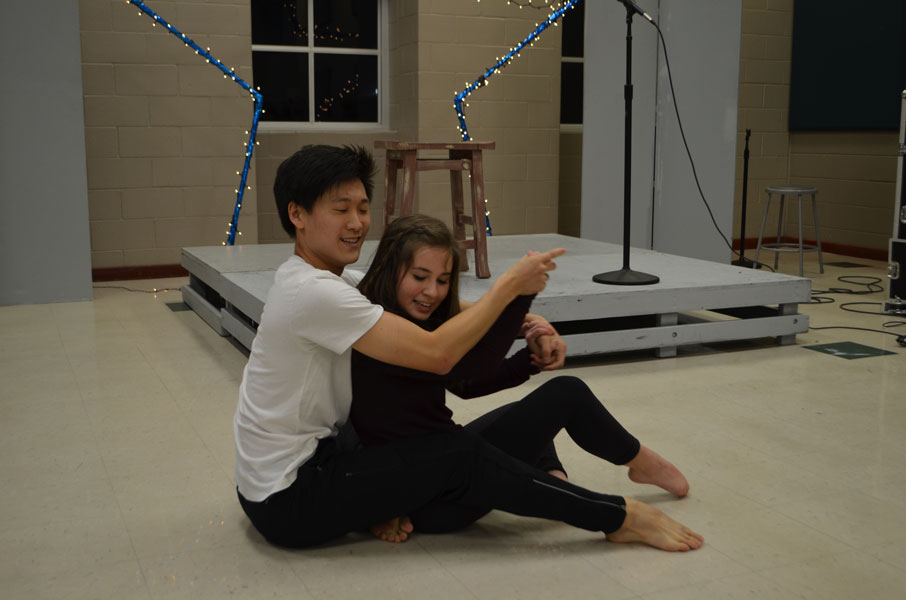Junior Brian Seo and sophomore Maddie McPherson perform a duet to Work Song.