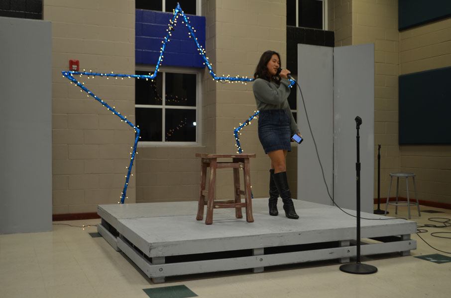 Joy Park sings a solo for the Coffee House.