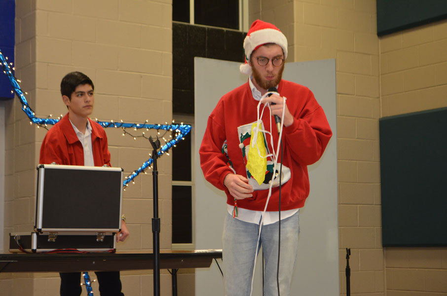 Seniors Sean Ghedi and Fernando Krasovsky perform a magic act.
