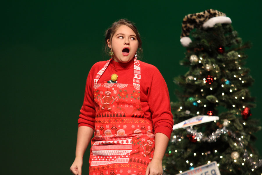 Bertha Bumiller, played by Abigail Buscemi, is shocked by how her Christmas is turning out.
