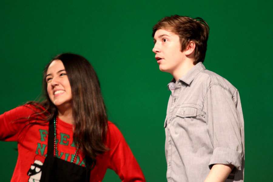 Helen Bedd, played by Emmie Ahn, and Leonard Childers, played by Tyler Greenwood, talk in the Tastee Kreme.