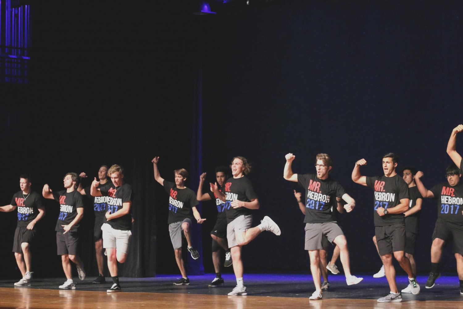 Mr. Hebron contestants performing a group dance.