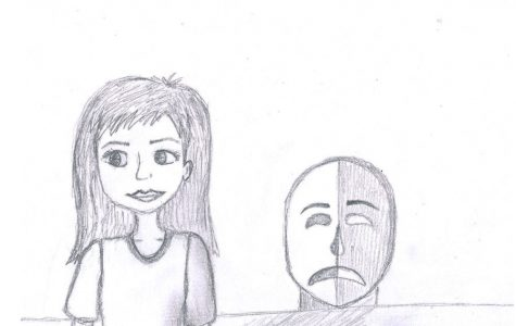 Drawing of a girl visibly happy, but is suffering with depression. It shows the contrast between being sad and having depression.
