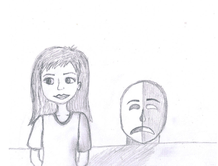 Drawing+of+a+girl+visibly+happy%2C+but+is+suffering+with+depression.+It+shows+the+contrast+between+being+sad+and+having+depression.