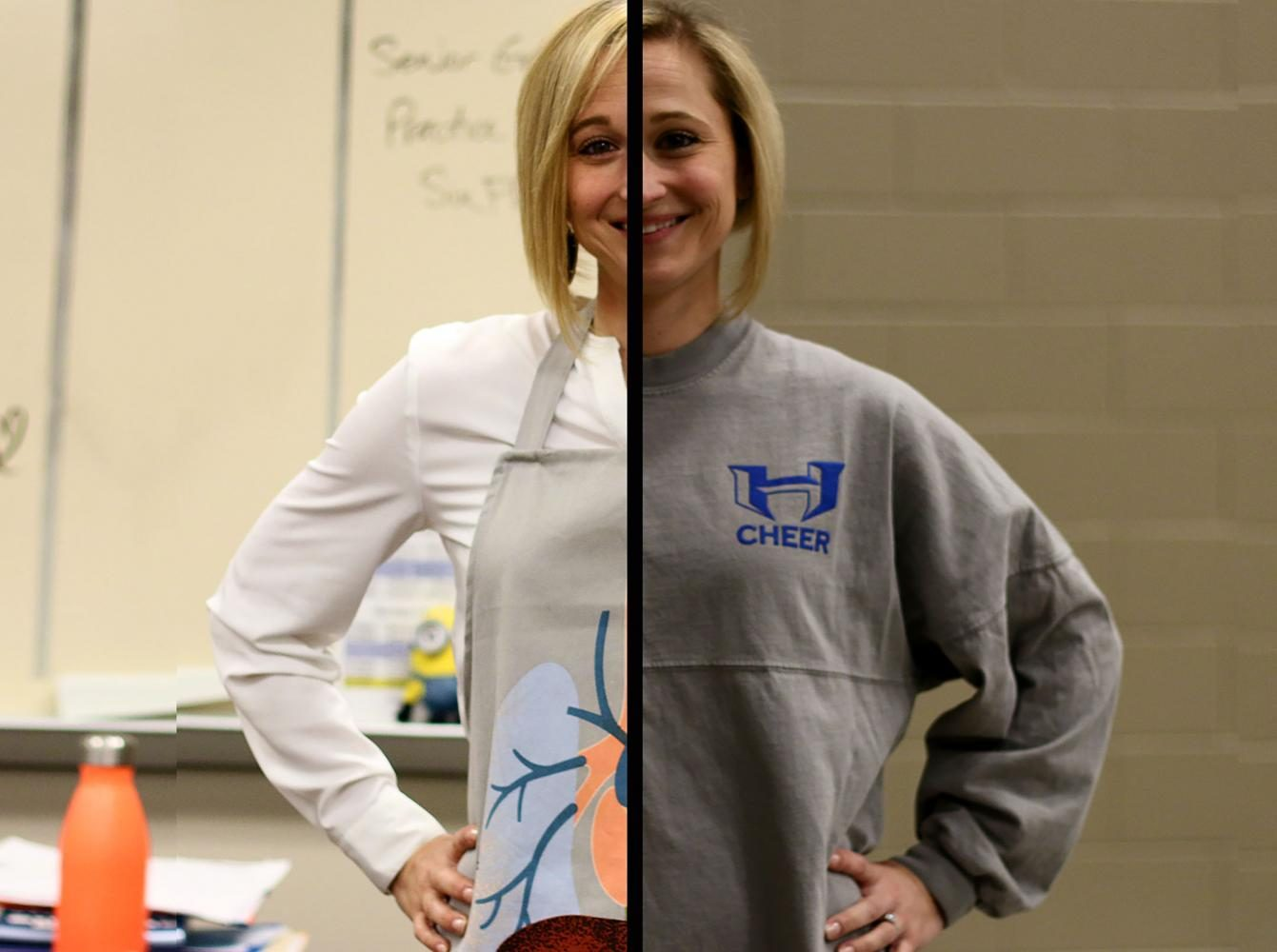 Trepagnier poses in her anatomy apron and cheer spirit wear.
