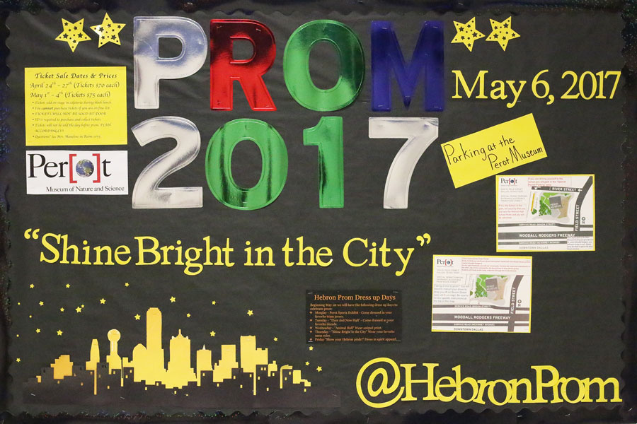 The prom bulletin board in the hallway