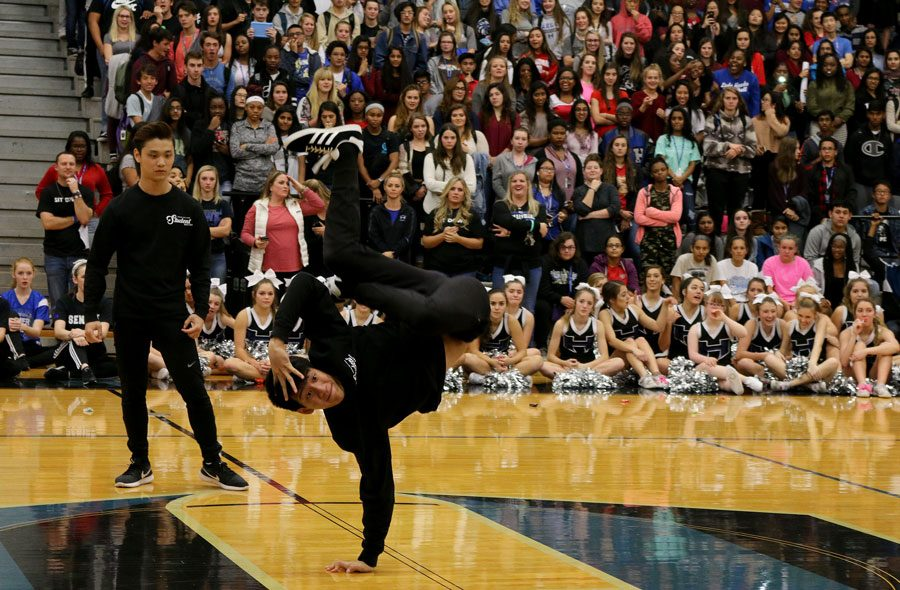Senior Jacob Pham performs for DFC. Only the seniors performed the routine.
