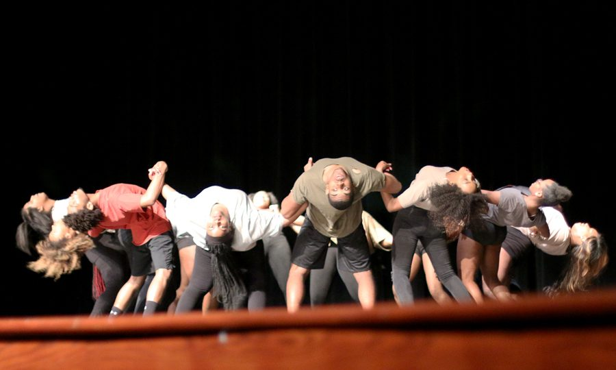 Showtime members form a circle during one of their dances. The theme of the celebration was sankofa.