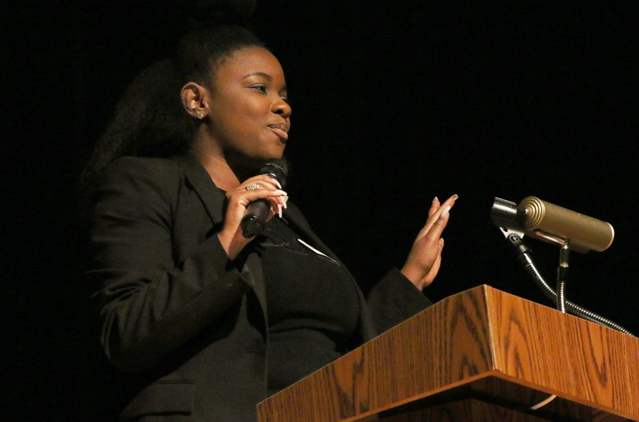 Attorney Jasmine Crockett speaks about cases she has had in the past. Crockett was the guest speaker for the event.