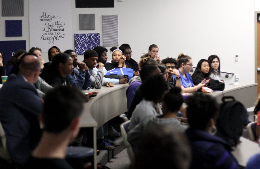 Students and staff attend the first open forum of the month. The session focused on the N-word.
