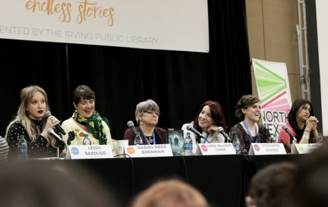 "Authors Leigh Bardugo, Sarah Rees Brennan, Cinda Williams Chima, Stephanie Garber, Claire Legrand and Sabaa Tahir introduce themselves for the Brave New World Panel. All of them have written young adult fantasy like ""Six of Crows,"" ""Furyborn"" and ""An Ember in the Ashes."""