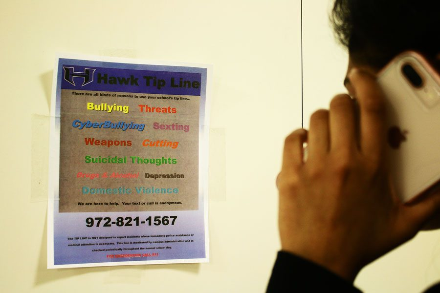 The Hawk Tip Line is open to students, faculty and staff to report bullying, suicidal thoughts, self-harm, dating or family violence, weapons, drugs, threats and alarming behavior.