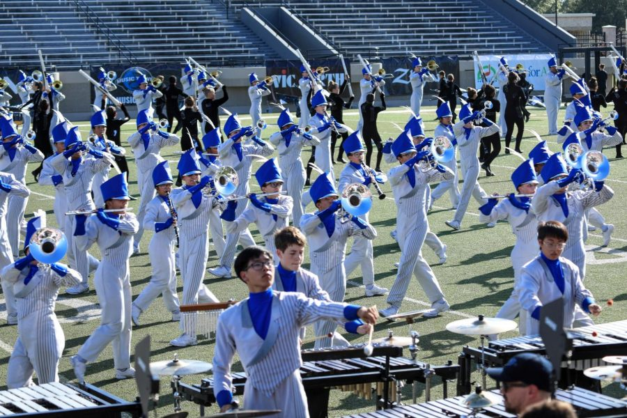 The+band+performs+at+the+Bands+of+America+Regional+competition+on+Oct.+6.+They+placed+second+in+prelims%2C+but+the+competition%E2%80%99s+finals+was+cancelled+due+to+weather.+