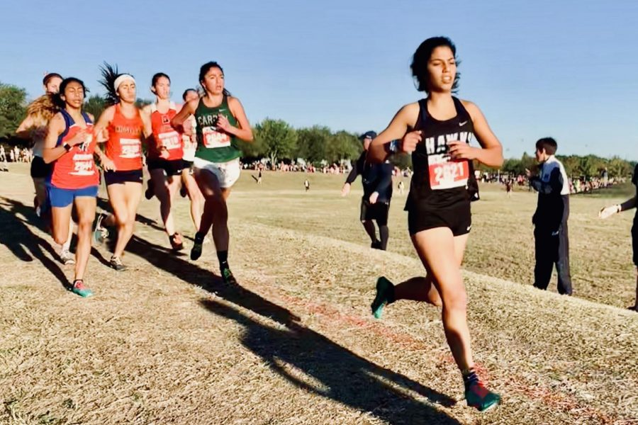 Senior Aaliya Fazel competes in the 5k UIL State Cross Country Championship. Fazel beat her personal 5k record of 18:03 by seven seconds.