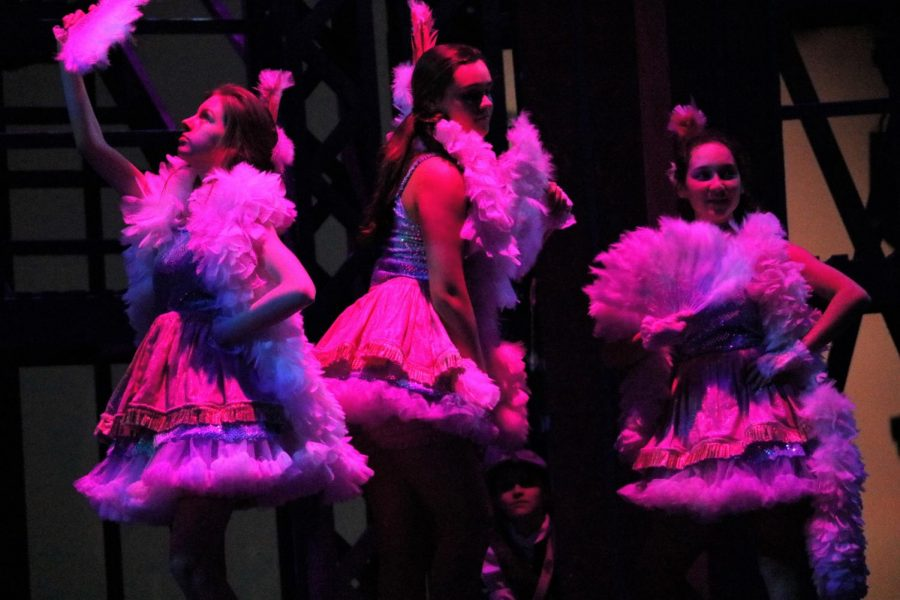 The Bowery Beauties (senior McKenna Chamberlain, junior Lauren Hanifan and sophomore Sofia Solis) perform to the song