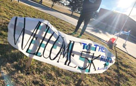 The welcome sign at the FCCLA 5k run held on Jan. 12. held at Hebron. The event raised $4,000 -- money going to The Net (an organization helping people affected by poverty).