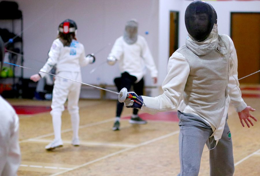 Junior Paul Lewis practices foil. Paul will compete in the Junior Olympic National Championships Feb. 15-18.