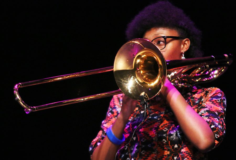 Junior Adaah Wysinger plays a jazz piece on her trombone.