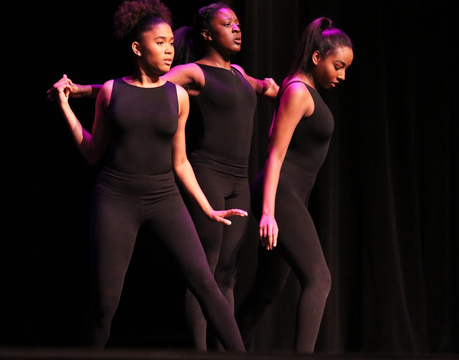 """Juniors Simone Lester, Mariah McCardell and Ava Parker dance to """"Lord is Coming"""" by H.E.R. All three of them are in Silver Wings."""