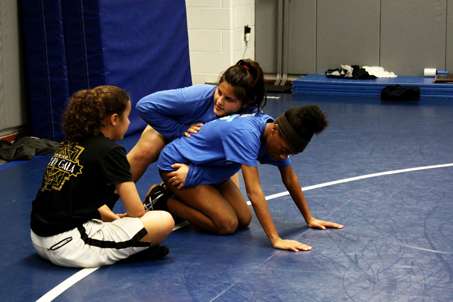 Juniors Natalia Sanchez and Sariah Dawson demonstrate a tight waist chop during practice. This season was the first official one for the girls wrestling team.