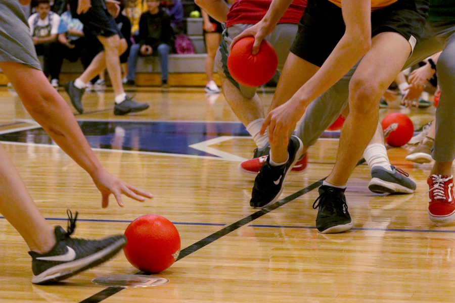 Teachers+and+students+race+to+grab+the+dodgeballs+lined+up+at+half+court.+