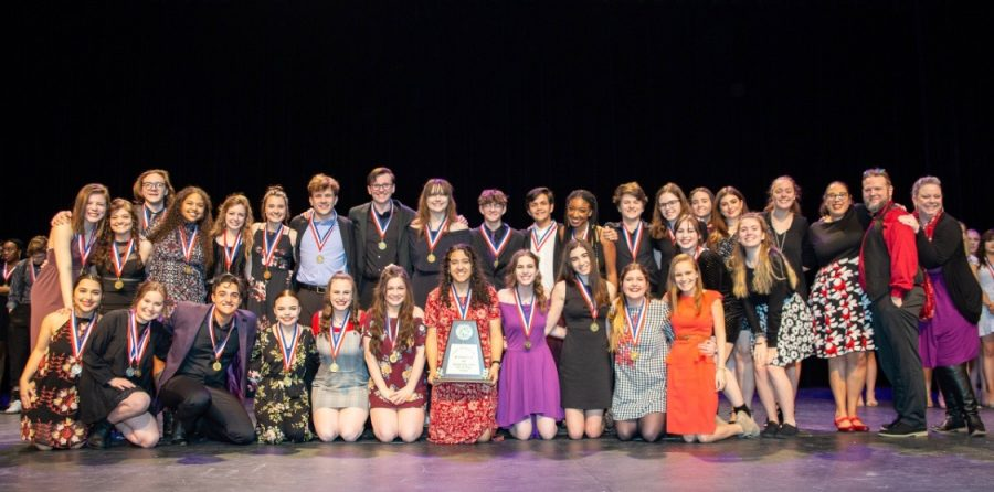 The cast and crew of Mary Shelley win first place at Bi-District.