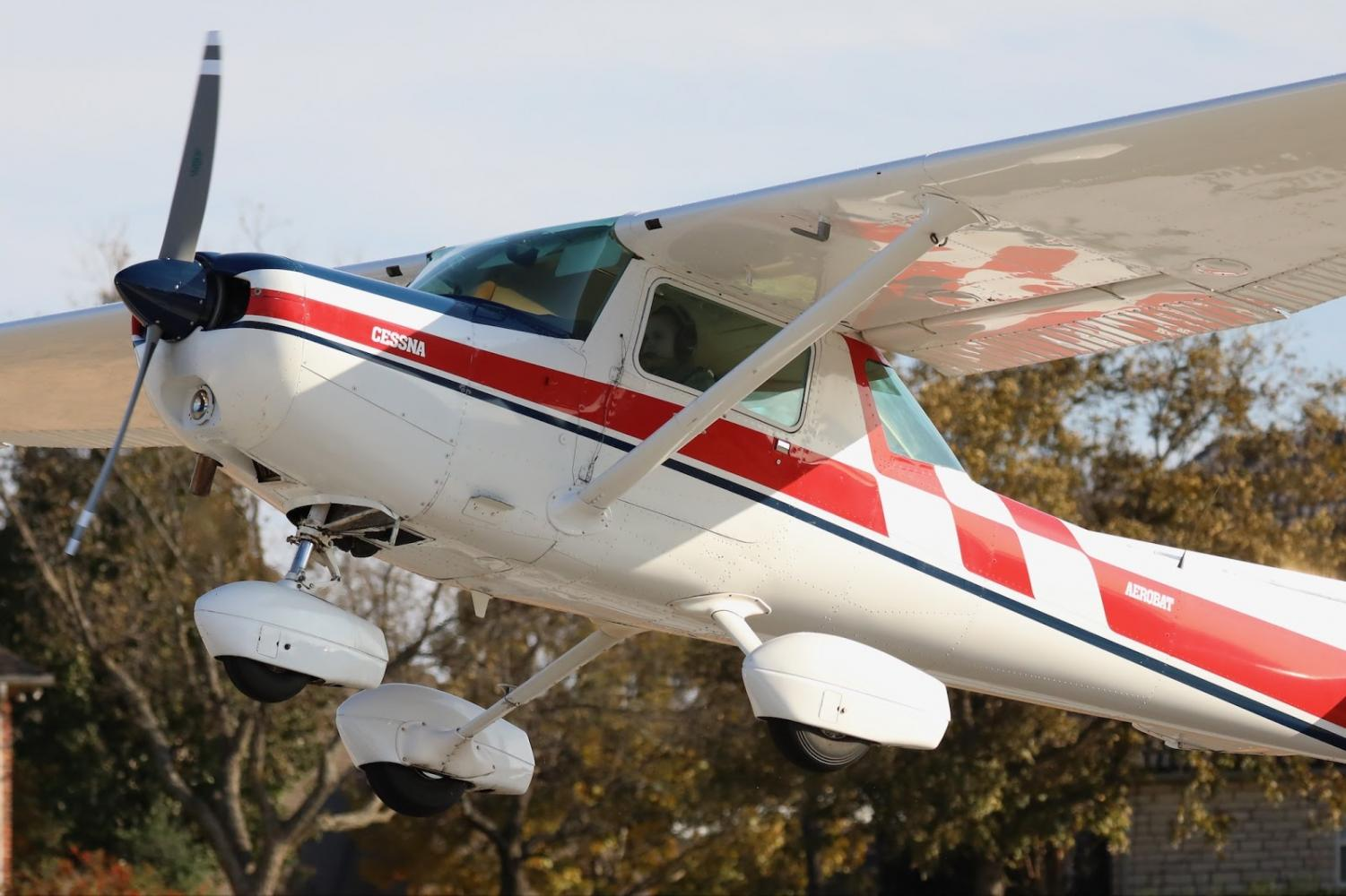 """Newman takes off in a Cessna 152 Aerobat plane. Newman's passion for flying began at a young age and carried into high school. """"My whole family flies,"""" Newman said. """"My mom was a flight attendant, my dad was a pilot, my [grandfather] was a pilot and my other grandpa was a pilot."""""""