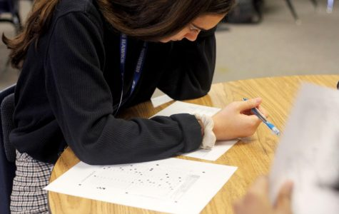 Sophomore Veronica Martin takes a multiple choice art test to prepare for the upcoming competitions. Martin is in the scholastic category.