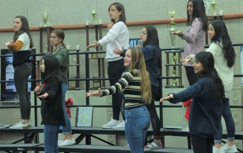 """Choir rehearses their choreography for one of their songs, """"Mr. Santa,"""" on Dec. 2 during third period. """"I'm excited to sing with the elementary and middle school kids,"""" sophomore Saara Sherali said. """"It's always fun to see how they sound and it's a great way to encourage them to stay in choir."""""""
