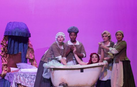 Abby Vitt (Ariel) gets ready with help from the maids. The maids prepare her for Prince Eric's (Krishna Nair) ball.