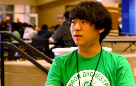 Junior Ben Kim wears green at lunch to show support for mental health week. On Monday, students wore green to promote mental health awareness.