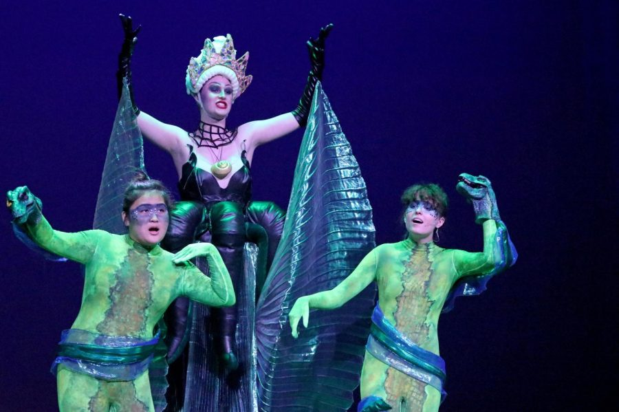 """Ursula, played by junior Shae Duggan, sings """"Daddy's Little Angel"""" as she conspires with her eels. As the antagonist of the show, Ursula takes advantage of Ariel in an attempt to gain power and control of the sea."""
