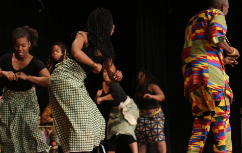 Students from the University of Dallas represent West African culture through a series of dances at the Hawk Fest on Feb. 29.