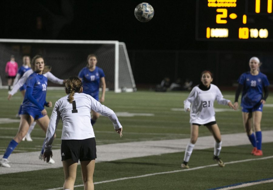 """The girls prepare to intercept an Irving throw-in. Irving is currently last in the district, but Vaughn said they can cause some damage. """"They're not a bad team,"""" Vaughn said. """"We gave them a couple of chances that I think we should not have let them have."""""""