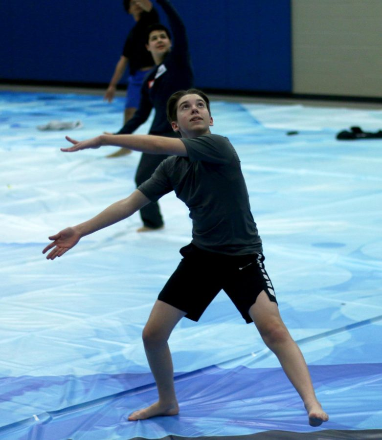 Sophomore Ethan Connolly practices performance for WGI on Feb. 25th in the auxiliary gym. WGI is being held in March, and if they make it to finals, they'll get to perform at the UNT Coliseum.