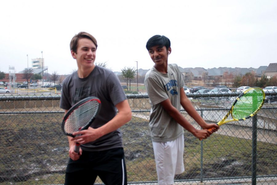 Juniors Rohan Agarwal and Robert Herrera pose for a photo.