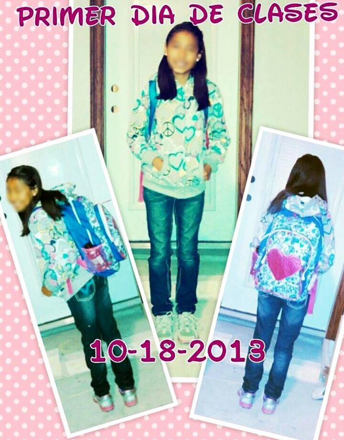 Lin poses for her first day of fifth grade in the U.S.