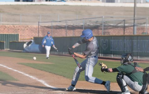 Junior Connor McGinnis hits a ball during a game. The baseball season was halted before districts.