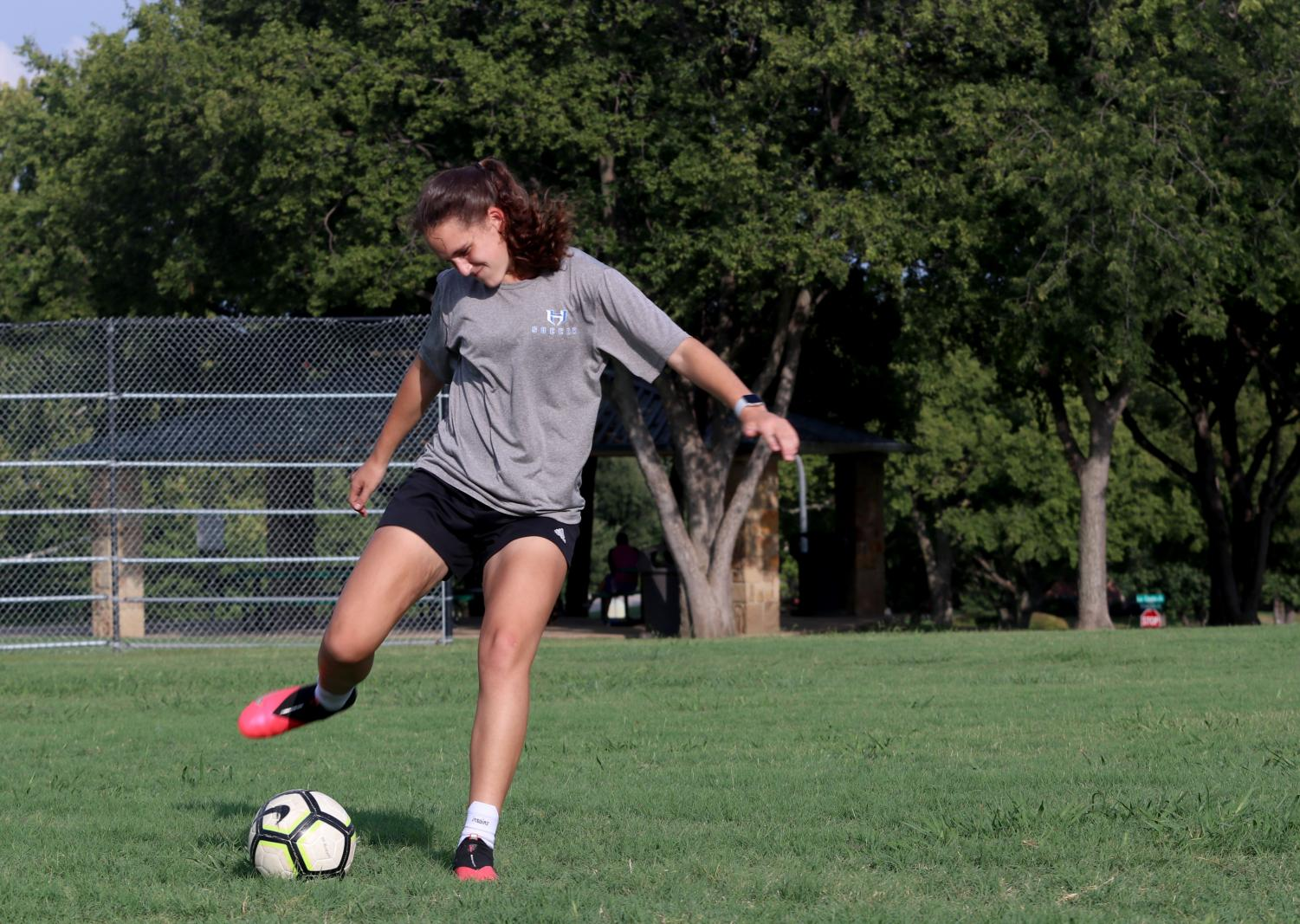 Junior Weslyn Brown practices soccer after school on September 17.  Brown has been reaching out to college coaches for recruitment for several months now.