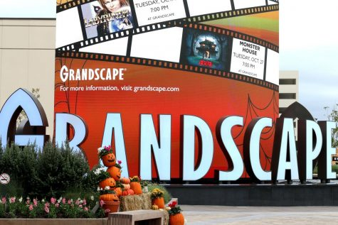 The Grandscape entrance, decorated for Halloween.