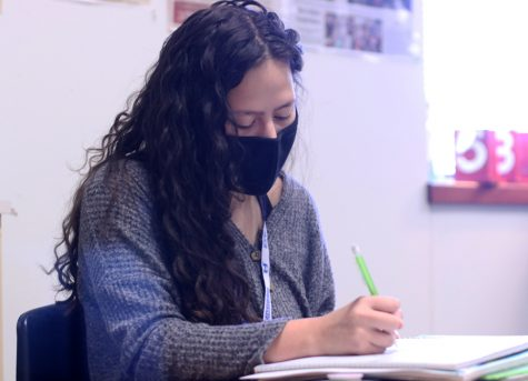 "Junior Kaitlin Castillo takes notes in her AP U.S. History class. Castillo said she doesn't feel GPAs this year are balanced. ""I did like my [class rank] improvement, but I wasn't as happy and didn't have as much pride in it because it didn't mean as much if not everyone was at school,"" Castillo said."